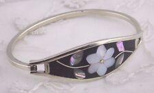 Alpaca Silver Bangle Bracelet Black Enamel Abalone Shell flower Fashion Jewelry