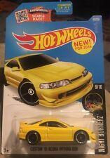 2016 Hot Wheels Yellow Custom 01 Acura Integra Gsr ERROR Double Stamp Tail Light