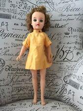 """VTG 50's 20"""" Miss Revlon Doll VT-20 Brunette Bobbed Curls Blue Eyed Yellow Dress"""