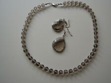Handmade FACETED SMOKEY QUARTZ BEADS AND CLEAR CRYSTAL BEADS NECKLACE