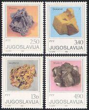 JUGOSLAVIA 1980 minerali/Cristalli/miniera/GEOLOGIA/Rocks 4 V Set (n25663)