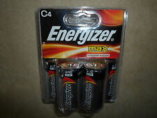Pack Of 4 Energizer Max Alkaline C4 Batteries, Exp. Date 03-2019, NEW IN PACKAGE