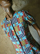 CHIC VINTAGE POP ROBE 70s DRESS VTG MOD GRAPHIC ANNEES 70 ABITO RETRO  (38)