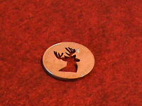 Hand Cut US Silver dollar with a Deer head for a Golf Ball marker, 24 kt Gold pl