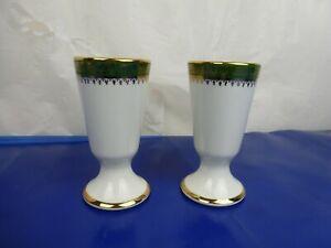 "Vintage Cernet Limoges Pair of Gilt Edged Goblets in Green 13.5cm/5 1/3"" Tall"