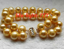 "7.5-8"" huge 2 rows  South sea Baroque 11-12mm AAA Yellow Pearl Necklace 14K Gold"