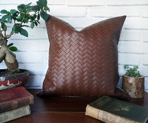 Walnut brown wicker pattern faux leather- poly linen pillow cover-16''x16''