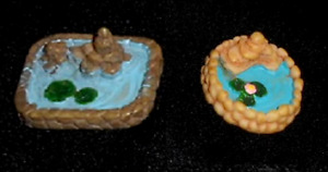 Micro Miniature Fairy Garden Dollhouse Gnome Village Lot  2 Ponds With Lily Pads