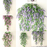 Artificial Wall Hanging Lavender Flowers Vine Plant Outdoor Indoor Decor Supply