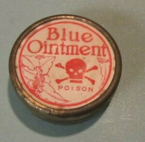 "1903 Myers Blue Ointment Poison Advertising Tin #3 Skull Bones 1.875"" Diameter"