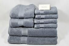 Calvin Klein Home Eight Piece Solid Dusty Blue Bathroom Towel Set 100% Cotton