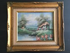 Antique vintage gold frame painting on board 12.25� x 14.25�
