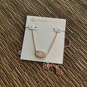 Kendra Scott Elisa Rose Gold Iridescent Drusy Pendant Necklace NEW AUTHENTIC