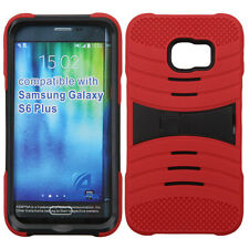 For Samsung Galaxy S6 EDGE Hard Gel Rubber KICKSTAND Case Cover +Screen Guard