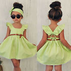 Summer Girls Kids Dress Princess Backless Party Wedding Prom Bow Dresses 3-8Y