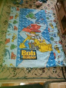 Vintage BOB the BUILDER 4pc TWIN Sheet Set Pillow Case Flat Fitted blanket
