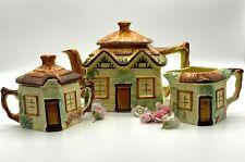 More details for vintage keele st pottery hand painted cottage ware tea pot creamer & sugar bowl