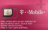 T-Mobile SIM Card with Preloaded Prepaid Plan $50 Unlimited 30 Days / 1 Month