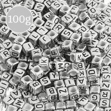 6 mm Mix Acrilico Alfabeto Lettera Cubo Perline Argento 100 G (K33/2)