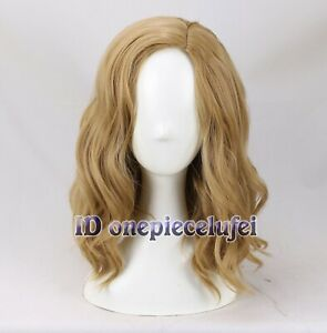 Ms Captain Marvel Cosplay Wig 40cm Golden Brown Wavy Curly Hair Women +a wig cap