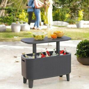 Keter Bevy Bar 56 Litre Rattan Cool Drinks Cooler Box Party Garden Table *NEW*