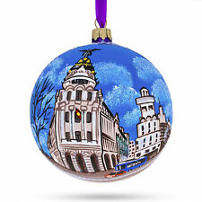 Gran Via, Madrid, Spain Glass Christmas Ornament 4 Inches