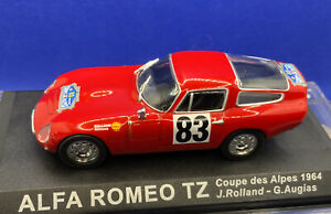 ALFA ROMEO TZ COUPE DES ALPES 1964 J.ROLLAND-G.AUGIAS & Display Case