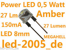 5 x Power LED 8mm 0.5 Watt 150ma succinico, Amber, Ambar, ambre, gialli, ARANCIONE,