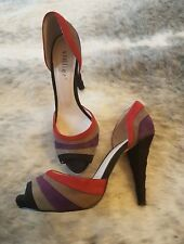 STILLIER Womens Suede High Heels Peep Toe Stilletto Size 39 EUC Near New