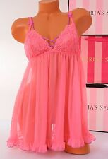 Victoria's Secret Lingerie Fly-away Tulle Babydoll Lace Unlined S Small Pink