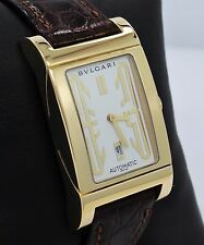 Bulgari Bvlgari Rettangolo 18K Yellow Gold On Leather Automatic Watch RT45G