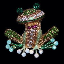 Entzückende Brosche / Anhänger Frosch bunte Kristalle, goldfarbenes Metall