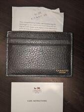 NEW!  COACH Black Leather Men's Credit Card Holder Wallet Flat Slim F74322