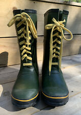 Vtg Explorers Green  Rubber  Lace Up Insulated Steel Shank Rain  Boots  Size 7