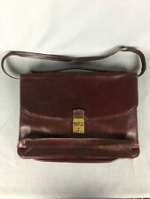 John F Leather Briefcase Attaché Burgundy Portfolio Made In Florence Italy