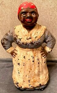 """Vintage Hubley Cast Iron Black Americana 12.5"""" Maid Woman Figure"""