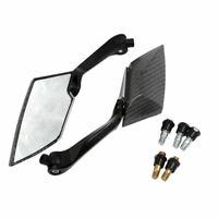 Girable Fibra Carbono Espejo Plano Retrovisor de Moto Negro 10mm 8mm