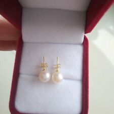 18K Gold over 925 Sterling Silver 6mm ROUND Freshwater Pearl Post Stud Earrings