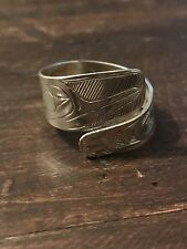 "Women's Exceptional Silver Hand Carved Tlingit ""Hummingbird"" Ring Alaska"