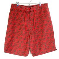 Tommy Hilfiger Jeans Mens Large Red Green Slime Pattern Board Shorts