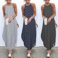 ZANZEA Women Strappy Off Shoulder Polka Dot Long Shirt Dress Beach Sundress Plus