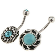 3Pcs Belly Button Piercing Ring Turquoise Dangle Stainless Steel Navel Rings