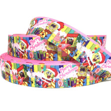 "GROSGRAIN RIBBON 7/8"" Christmas Spongebob ( COMBINE SHIPPING)"