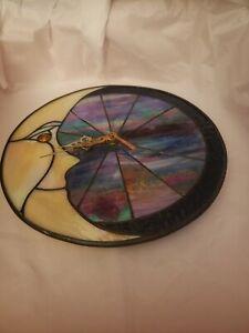 "9½""  Round Moon Stained Glass Leaded Art Panel Clock Suncatcher Iridescents"