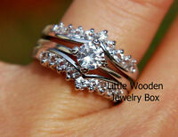 Sterling Silver Round Simulated Diamond Engagement Ring Wedding Band Set Women's