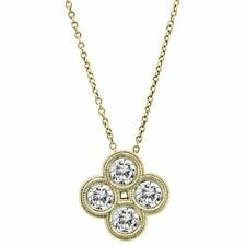 14KT YELLOW GOLD 0.72CT ROUND DIAMOND CLOVER NECKLACE