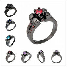 Pick New Style Gothic Skull Sapphire Wedding Band Ring Black Gold Ring
