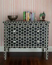 Handmade Bone Inlay Black Honeycomb Dresser