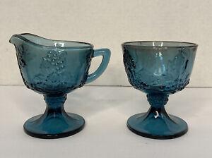 Indiana Glass Iridescent Blue Carnival Grape Harvest Cream Sugar Set