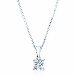 4 Stone Round Diamond Petal Floral Platinum Pendant Necklace Solitaire 0.25 TCW